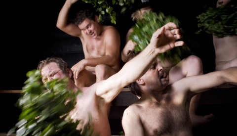 miehet saunassa Haapajarvi